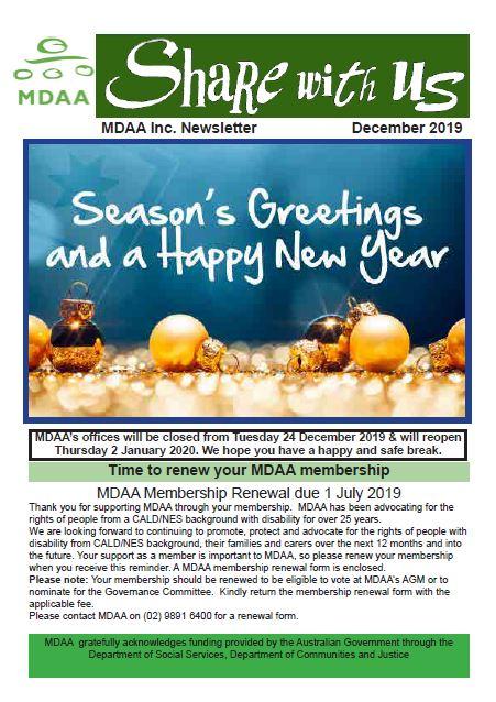 MDAA Newsletter December 2019