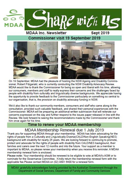 MDAA Newsletter September 2019