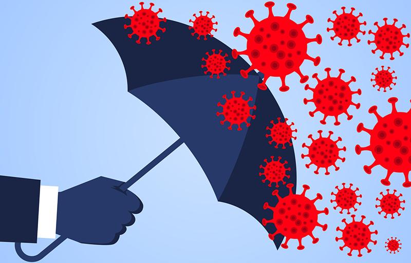 Hand holding an umbrella against the 2019 novel coronavirus pneumonia, global plague virus